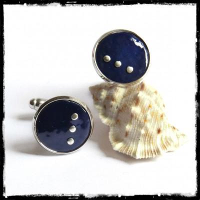 Men's cufflinks -round cufflinks original blue enamel on copper - silver sterling round - design