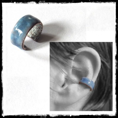 Enamel on copper Ear Cuff Ring -Ear - One size - Colour personnalisable- For non-pierced ears.