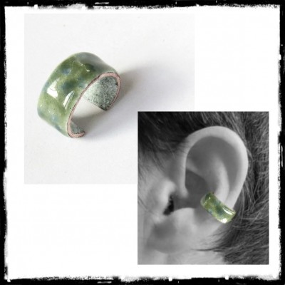 "Ear-cuff style ""Elegant Bad Girl"" in enamels on copper -Ear Cuff - Customizable"