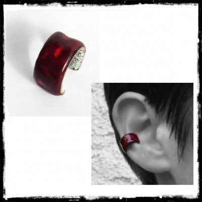 "Ear-cuff style ""Elegant Bad Girl"" in enamels on copper -Earcuff - Customizable"
