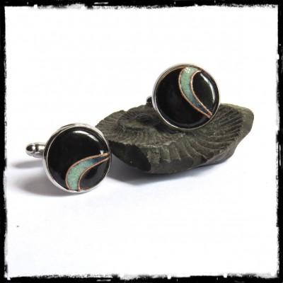 Boutons de manchettes originaux pour homme - design émaux sur cuivre noir et vert pale 16 mm rond