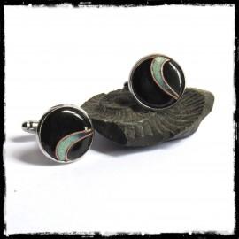 Boutons de manchettes design pour homme - modèle rond en emaux noir et vert argenté