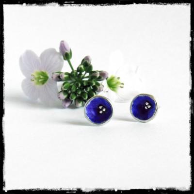 Puces d'oreilles bleues de créateur Argent massif et émaux véritables-perles argent- forme organique