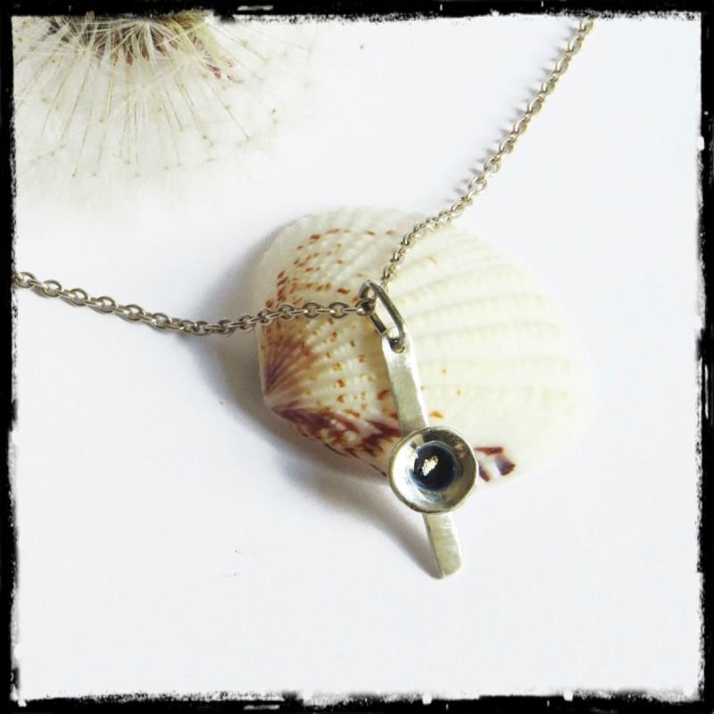 collier pendentif romantique original argent 925 emaux paillette d 39 or. Black Bedroom Furniture Sets. Home Design Ideas