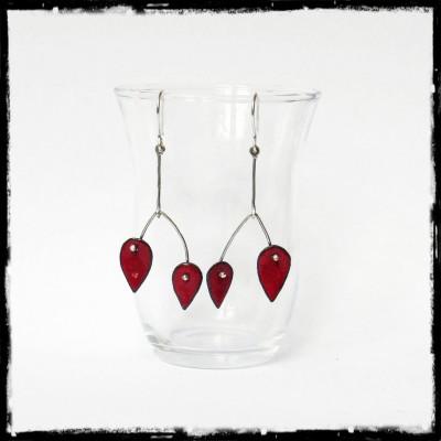 Boucles d'oreilles longues - Design et modernes - Emaux sur cuivre rouge - Tige Argent 950 - Bijoux de créateur