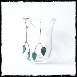 Boucles d'oreilles longues Bleu vert- Design et modernes - Emaux sur cuivre rouge - Tige Argent 950 - Bijoux de créateur
