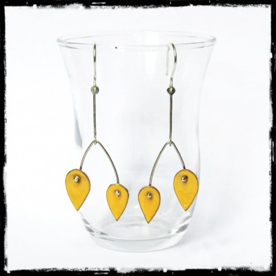 Long earrings design very trendy colors - yellow-Modern - Enamel on brass - 925 Silver - Jewelry designer