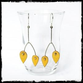 Boucles d'oreilles longues design couleurs tendances - Jaune- Modernes - Emaux sur cuivre jaune - Argent 925 -