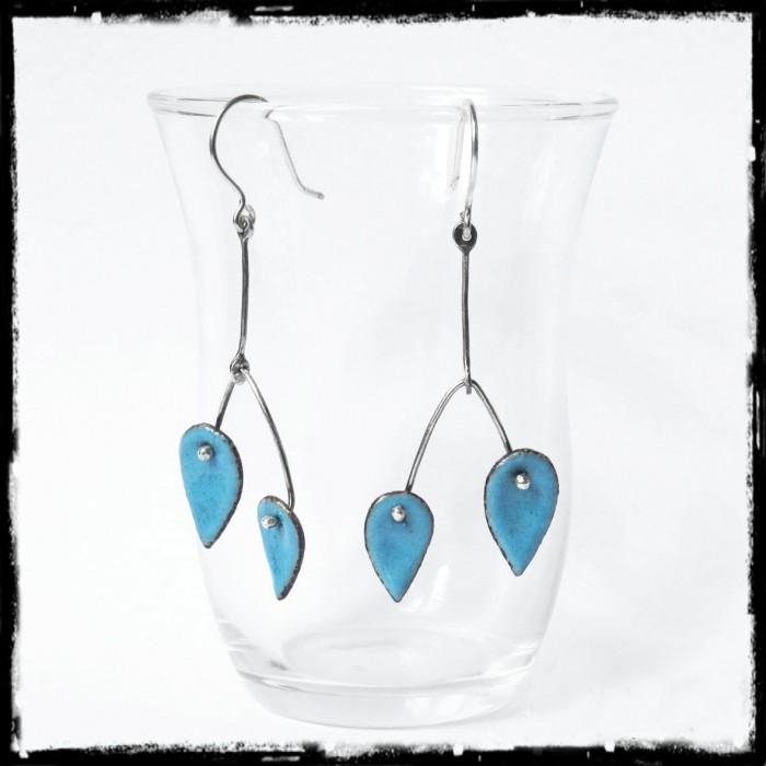 Boucles d'oreilles longues - Design et modernes - Emaux sur cuivre  - Tige Argent 950 - Bijoux de créateur