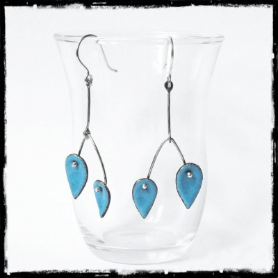 Earrings modern -Design creator - enamels on copper turquoise - 950 Silver - Jewelry designer