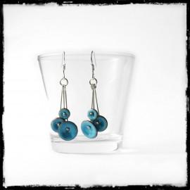 """Boucles d'oreilles """"Petites fleurs """" Turquoises - Longues - Emaux sur cuivre - pendants - - Argent 950"""