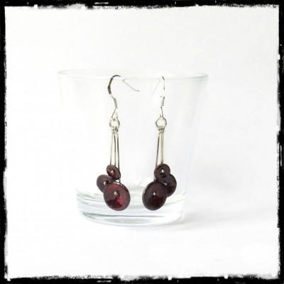 """Boucles d'oreilles """"Petites fleurs """" rouges- Longues -  Emaux sur cuivre - pendants - - Argent 950"""