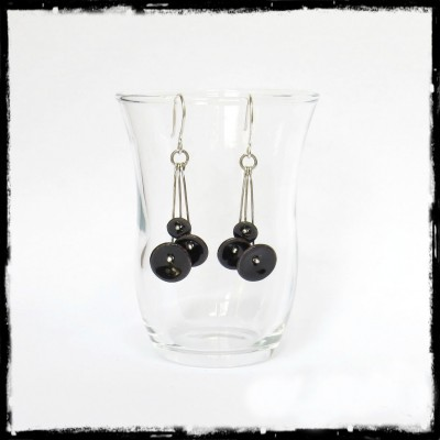 "Earrings "" Small flowers "" black - Long - enamels on copper - - Silver 950 earrings - designer jewelry"
