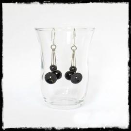"""Boucles d'oreilles """"Petites fleurs """"  Noires - Longues -  Emaux sur cuivre - Boucles d'oreille romantiques- Argent 950"""
