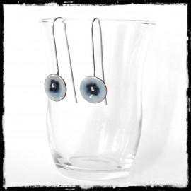 Boucles d'oreilles Design romantiques épurées longues -Emaux sur cuivre - Tige argent massif