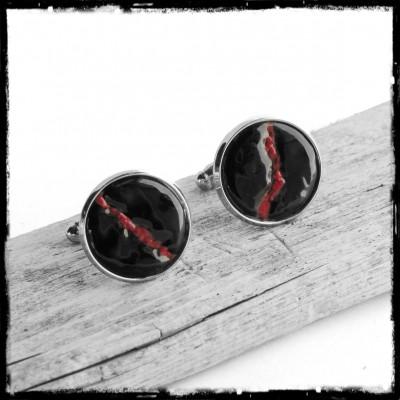 Boutons de manchettes noires et rouges argentés pour homme - Modèle original et design -Rondes