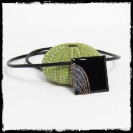 short and design necklace- black and blue enamel on copper pendant