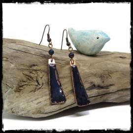 Longues Boucles d'oreilles originales style bohème noir bleuté - émaux sur cuivre