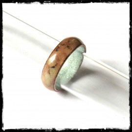 Single wide rustic enamel on copper ring - ring Creator - brown yellow - Customizable colors - Custom Model -