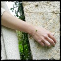 Bracelet fin argent massif et emaux vert anis chainette fine
