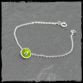 fine chain silver bracelet romantic style with green flower enamel on solid silver