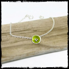 Bracelet in sterling silver and enamel on silver- charms flower green anise chain