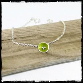 fine chain silver bracelet romantic style with green flower enamel on solid silver