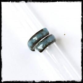 Bague style rustique large en émaux sur cuivre - bague de pouce - camaieu de bleus