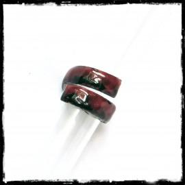 Anneau style rustique large en émaux sur cuivre - bague de créateur - rouge et noir