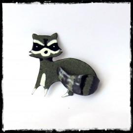 Broche animal Raton laveur en émaux sur cuivre - Entièrement fait main - Modèle original - Petite série