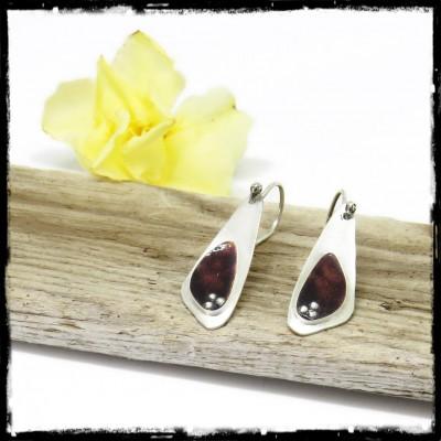 Solid Sterling silver and Brown purple enamel fine design earrings