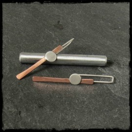 "Long Contemporary Design earrings ""point and Line"" -Copper and sterling silver - jewelry designer -"