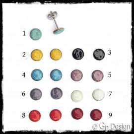 Boucles d'oreilles puces rondes plates émaux sur cuivre (verre) et tige acier inoxydable - Couleurs tendance - bijoux mode été