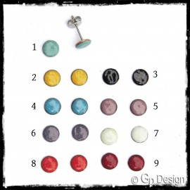 Ears small teen girl woman fleas, trendy colors in enamels on copper - stainless steel rod - simple round
