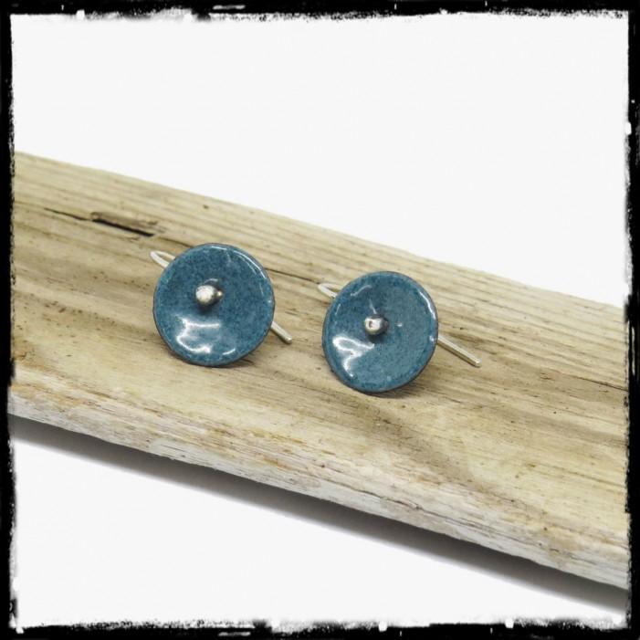 "Earrings ""Petites fleurs"" simple - Enamel on deep blue copper or customizable colors to choose from - Silver stem 950"