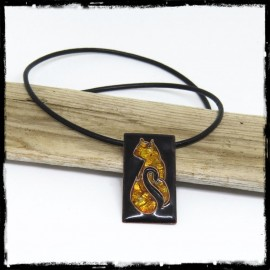 creator Necklace Pendant cat Enamel on copper on silver leaf - black and amber imitation - Black round leather cord -