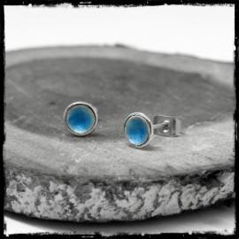 Mini Puces d'oreilles rondes en Argent massif et émaux véritables- bleu turquoise - romantiques