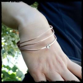 Bracelet manchette large en cuivre brut brossé et argent massif effet drapé