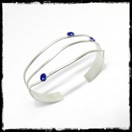 Large Bracelet manchette de bras ou poignet en argent massif brossé emaux bleus effet drapé