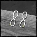 Boucles d'oreilles contemporaines Argent massif et grain d'Or style brut brossé dissymétriques