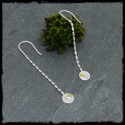 Long chain earrings 925/1000 Sterling Silver and native gold grain