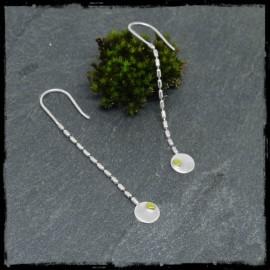 Chaines d'oreilles longues Argent massif et grain d'Or design et contemporaines