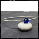 Sterling silver closed round bangle entirely handmade-silver flower deep blue enamels