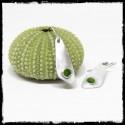 Boucles d'oreilles design minimaliste en argent massif et emaux vert anis