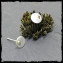 Puces d'oreilles rondes minimalistes Argent massif et grain d'Or brossé