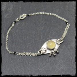 Bracelet fin style Art Nouveau Argent massif et Calcédoine chainette argent