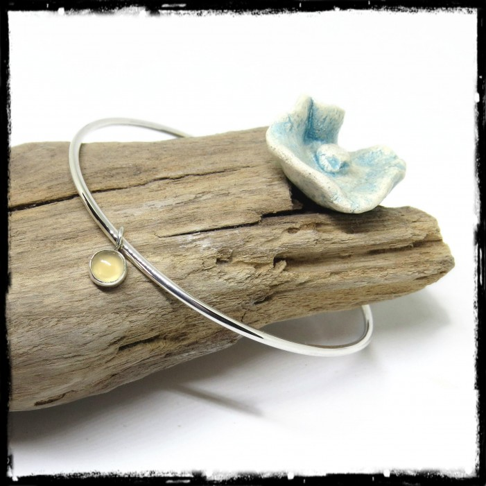 Sterling silver 925 bangle entirely handmade-chalcedonie set