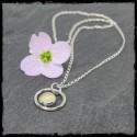 Collier fin argent et pendentif perle de calcédoine sertie en argent massif