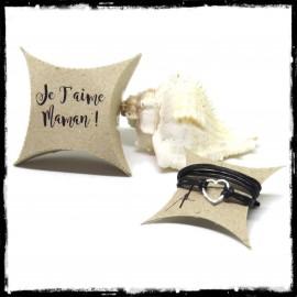 Bracelet très fin avec coeur en argent massif et cordon noir