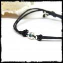 Bracelet coulissant moderne et fin cordon soie - Argent massif et pierre gemme